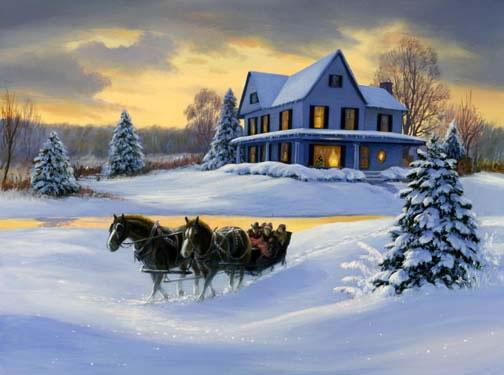 Linda Picken Art Studio / Sleigh and Huse White Night.jpg