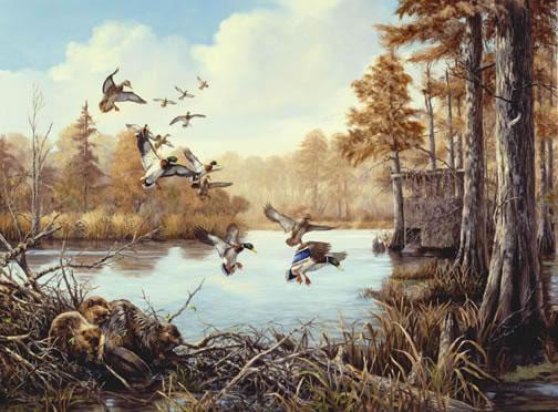 Linda picken art studio beaver dam for Duck hunting mural